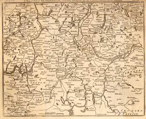 BRANDENBURG/Alte Landkarten - A Map of Part of Brandenburg, including Berlin, and the Country Pillaged by the Russians.